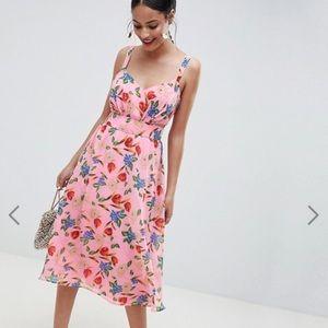 ASOS DESIGN Cut Out Midi Dress Pink Floral Print